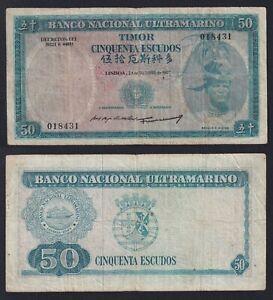 Timor 50 escudos 1967 BB/VF  A-10