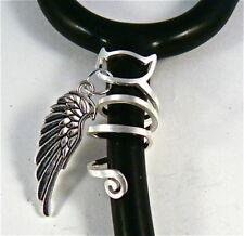 Stethoscope ID tag Spiral Cat design  Angel Wing charm ring,vet,nurse, RN,