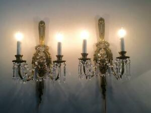 ANTIQUE VTG FRENCH BRASS BOW PETITE CRYSTALS CHANDELIER SCONCE WALL LAMP PAIR