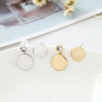 Women Genuine 925 Sterling Silver Round Plates Fashion Stud Earrings Asymmetric