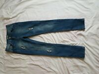 "LADIES TU FADED BLUE DISTRESSED SKINNY JEANS SIZE 28"" WAIST 29"" LEG  SIZE 10"