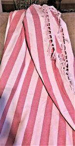 """NWT Pink & Perfection Woven Throw, Pink & White Stripes, White Fringe, 50""""x 60"""""""