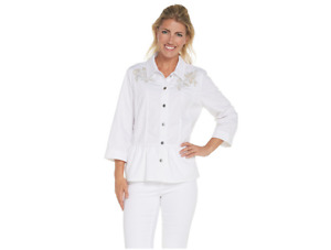 Joan Rivers 3/4 Sleeve Embroidered Denim Jacket Size XL White Color
