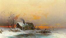 Winter Landscape Art Print wall hangings poster Wilhelm Von Gegerfelt 10 x 8