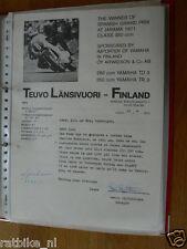 HT126-ORIGINAL AUTOGRAPH LASSI LYYTIKÄINEN MANAGER TEUVO LÄNSIVUORI FINLAND