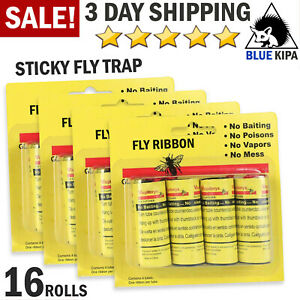 16 Rolls Sticky Fly Trap Paper Insect Bug Catcher Strip Fly Sticker Ribbon Tape