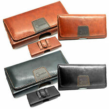 Luxury Leather Belt Pouch Designer Holster Magnet Flip Twin Loops + Clip Protect