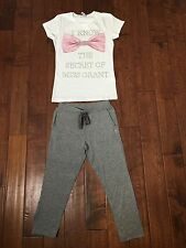 MISS GRANT girls White Tshirt Diamanté Pink Bow & Gray Sweatpants Set BNWT