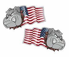 Handed Pair BULLDOG MASCOT American Stars & Stripes US Flag car sticker 75mm