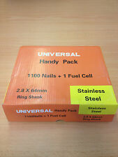 1100 28/64mm STAINLESS STEEL NAILS + 1 GAS FOR PASLODE