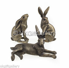 Set of 3 Small Hares Sculpture Hare Ornament in Bronze Finish Resin by Leonardo