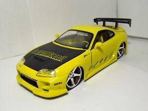 Jada Toys Import Racer Toyota Supra 2JZ Tuner Drift Car Yellow 1:24 Loose