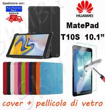 COVER CASE CUSTODIA LIBRO PELLE PER HUAWEI TABLET MATEPAD T10S 10.1'' + VETRO