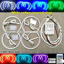 WIFI RGB COLOR LED angel eye DRL halo ring kit WHITE LENS for 01-06 E46 M3 S54