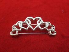 STERLING SILVER PLATED SEVEN (7) HEARTS PIN STYLE CHARM HOLDER