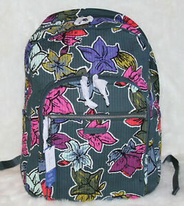 NWT Vera Bradley Deluxe LARGE Campus Backpack Laptop Travel Bag Falling Flowers