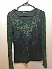 Miss Me Women's Top Black Green Lace Beads Long Sleeve Size Medium