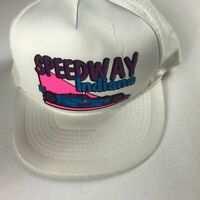 Speedway Indiana Foam Front Snapback Hat VTG Cap Racing White Pink Purple Blue