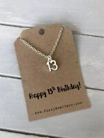 Happy 13th Birthday Silver Plated Age Necklace on Message Gift Card New
