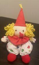 "Vintage Russ Berrie Bobo Clown Doll Toy Plush Yellow Yarn Hair Sitting 7"""