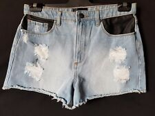 WOMEN'S SHORTS MADONNA DISTRESSED MINI 100% COTTON SIZE 10 NEW FREE POSTAGE