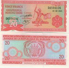 BURUNDI billet neuf de 20 FRANCS danse traditionnelle Pick27e  2001