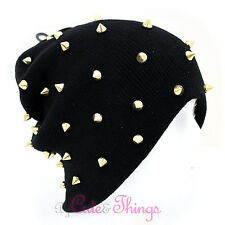 Gold Metal Stud Spike All Over Beanie Hat Soft Stretchable Uni Sex