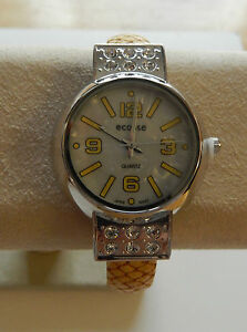 Watch Woman's Cuff with case--yellow round face sparkly stones