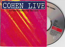 CD CARTONNE CARDSLEEVE COLLECTOR 3T LEONARD COHEN LIVE IN CONCERT 1994 RARE