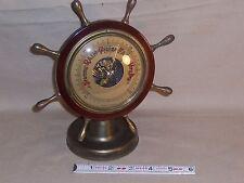 Vintage Nautical Style Barometer Brass & Wood Ships Wheel Western Germany