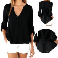 Fashion Women's V-Neck Loose Blouse Chiffon Tops Casual Long Sleeve T-Shirt