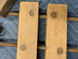 "Vintage Hargrave Cincinnati / Jorgensen Tool Company #710 10"" Wooden Clamp"