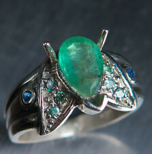 Natural Colombian Emerald &Alexandrite 925 Sterling silver / Gold ring all sizes
