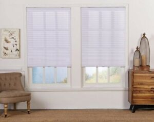CUT TO WIDTH White Cordless Light Filtering Pleated Shade. Perfect Lift QDWT