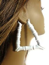 3.5 INCH TRAPEZOID BAMBOO HOOP EARRINGS ASSORTED COLORS LARGE