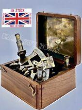 Vintage Maritime Brass Nautical Sextant with hardwood Box & extra lences