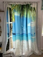 Ambesonne Turquoise Curtains, Palm Trees on Ocean Beach, 2 Panel Set
