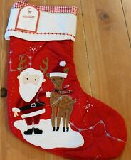 New Pottery Barn Kids QUILTED REINDEER SANTA Christmas Holiday Stocking