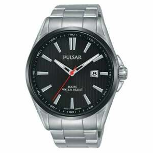 Pulsar Regular Quartz Black Dial Silver Steel Men's Watch PS9605X1 RRP £100
