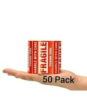 """Fragile Handle With Care Stickers 2"""" x 3"""" ( 50 Count ) 50 Shipping Labels"""