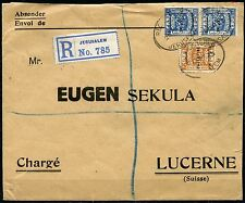 PALESTINE 1923 JERUSALEM REGISTERED COVER TO LUCERNE  SWITZERLAND AS SHOWN RARE