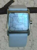 "Ecclissi Sterling Square Case MOP Dial White Leather Band 7"" Wrist New Battery"