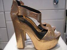 "Worn Once PINK SODA Bronze METALLIC 6"" Chunky HIGH Heel PLATFORM Shoes 6 Club"
