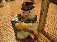 Fitz and Floyd Frosty Folks Snowman Spoon Honey Pot Retired 1996 No Box