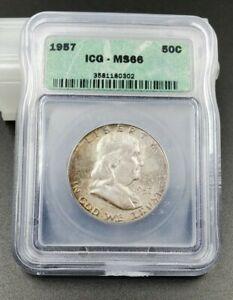 1957 P Franklin Silver Half Dollar Coin ICG MS66 Nice Strike Mint Set Toning