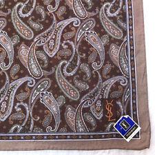 YvesSaint Laurent Scarf Dark Brown Cotton Antique Paisley Handkerchief Bandana