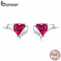 BAMOER S925 Sterling silver Stud Earrings Red CZ Guardian Hearts Women Jewelry