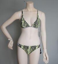 NWT VOLCOM Swimsuit Bikini 2pc set Size L YEF Yellow Flash Snake Skin Print