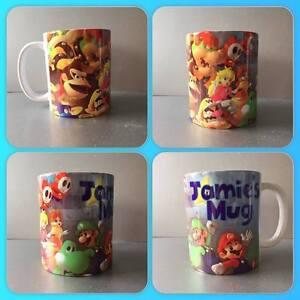 super mario luigi princess peach donkey kong Nintendo wii personalised mug cup