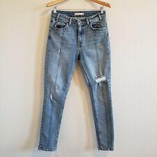Levi's 721 Vintage High Rise Skinny ORANGE TAB Lined Distressed Hem Jeans 28
